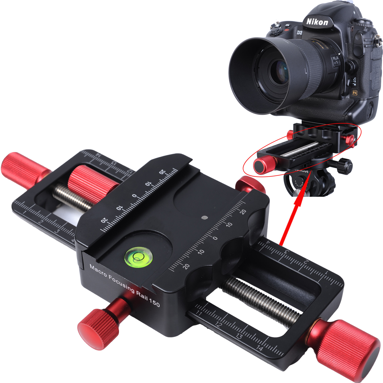 150mm Macro Focusing Rail Slider Close-up Shooting Head With Arca-Swiss Fit Clamp Quick Release Plate for Tripod Ballhead 160mm aluminum macro focusing rail slider close up shooting tripod head for canon for nikon for sony a7 a7sii a6500 dslr camera