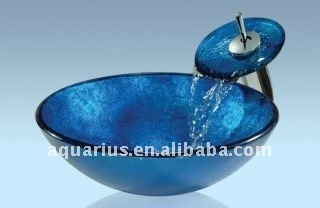 Blue Glass Sink For Bathroom Vanity Top With Waterfall Faucet and fittings