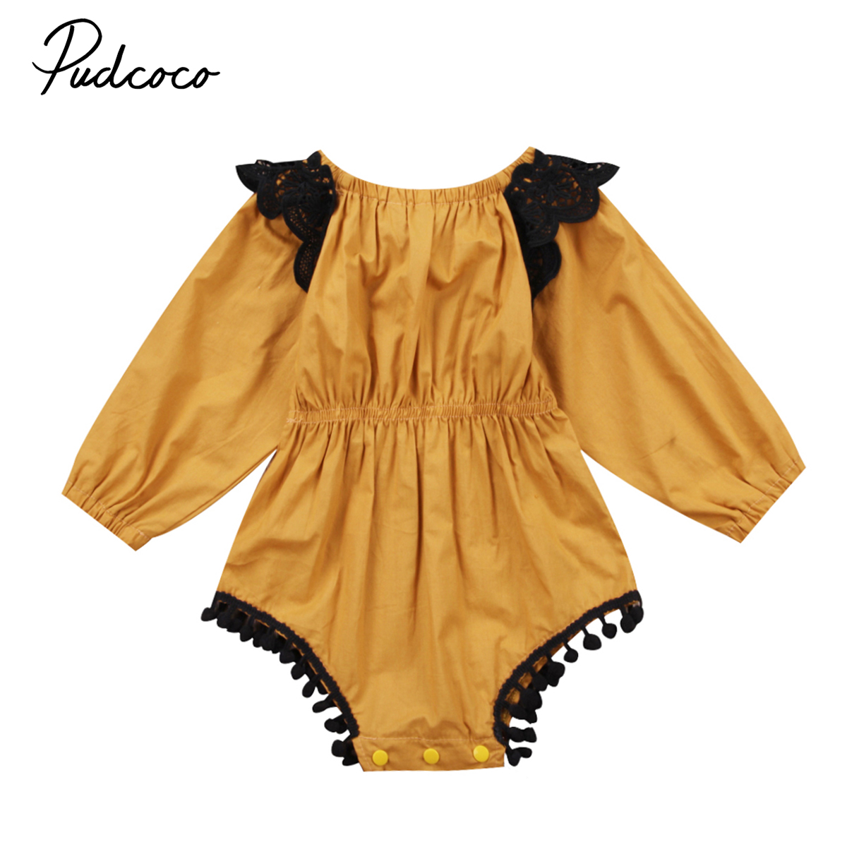 Casual Newborn Girls Jumpsuits Infant Baby Girl Romper Flying Lace Sleeve Jumper Kids Girls Autumn Cotton Blend Outfits Clothes