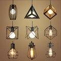 Ретро Внутреннее освещение винтажный подвесной светильник светодиодный светильник 24 вида железная клетка абажур складской стиль светильн...