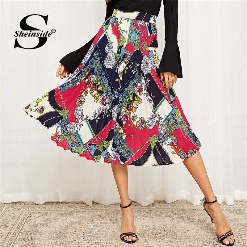 d5dca605db Sheinside Elegant Scarf Print Chiffon Pleated Skirt 2019 Spring Mid Waist  Skirts Womens Clothing Office Ladies