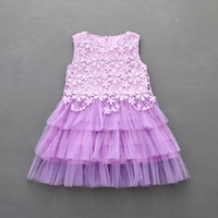 Sweet Elegant Toddler Kid Girls Dress New 2017 Summer Lace Tulle Cotton Tutu Party And Wedding