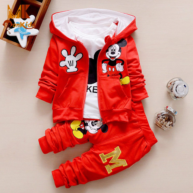 Monkids 2017 Autumn Winter Long-sleeved Three-piece Suit Cotton Cartoon Girls Clothing Sets Toddler Children Boys Clothing