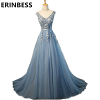 2018 Vestido De Festa Light Blue Prom Dresses New A Line V Neck Appliques Sashes Tulle