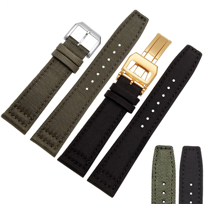 Quality Nylon and Leather Watch bands 20mm 21mm 22mm Black Green Watch accessories For Pilot series