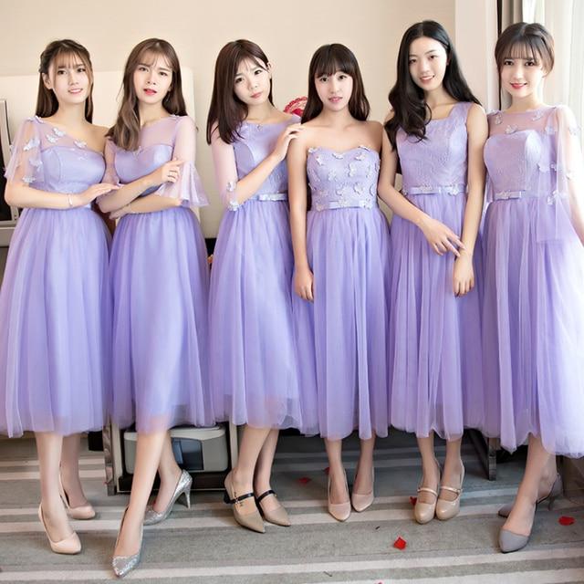 T Length Lilac Bridesmaid Dresses
