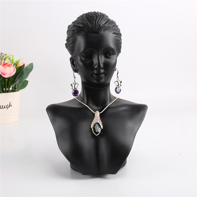 Mannequin Bust Jewelry Necklace Pendant Earring Display Stand Holder Show Decorate Shelf