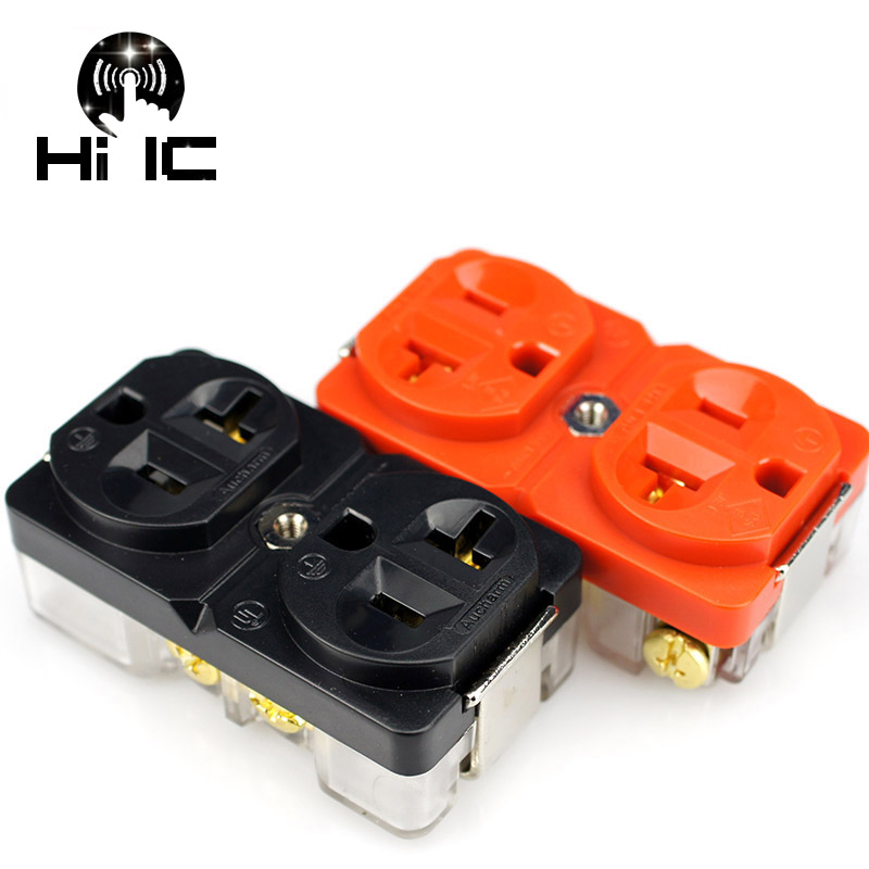 1x HIFI AC Power Distributor Red Copper Socket Receptacles steel chassis box