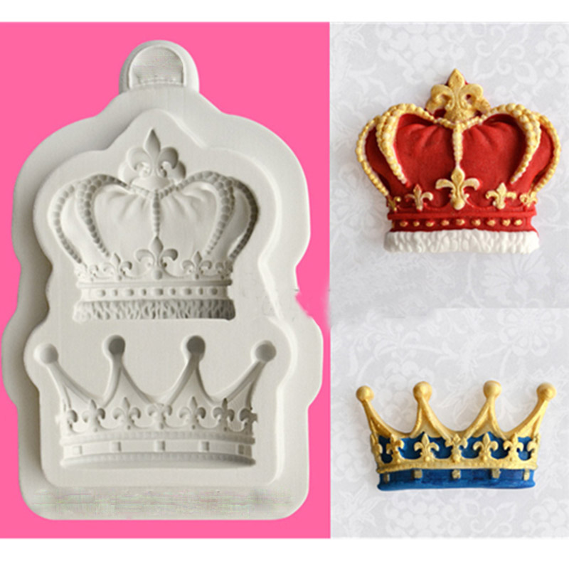 New arrival Silicone Mold fondant mould Crown sugar cake 3D crown 2 hole candy mold font