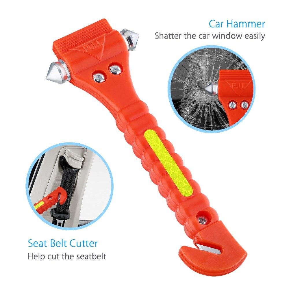 VicTsing 2PCS Mini Car Safety Life Saving Escape Emergency Hammer Seat Belt Clip Cutter Window Glass Breaker Car Rescue Red