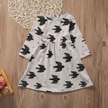 2017 New Baby Dress Toddler Infant Kids Baby Girl Dress Cotton Cute  Swallow Print Cotton Party Casual Dress Summer Sundress