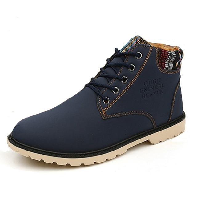 De alta Calidad de Los Hombres de Mantener el Calor de Invierno Casual Zapatos Planos Moda Botines de Algodón Juventud Marea Hombres Botas de Nieve 45 ZYH