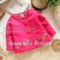 Envío gratis, Retail 2015 nuevo bebé ropa de bebé primavera otoño niñas rebeca de la capa del algodón borda la chaqueta niño prendas de vestir exteriores superior