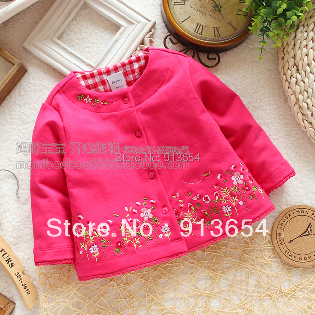 Free shipping, Retail new 2015 baby clothing spring autumn baby coat cardigan girls cotton jacket embroider child outerwear top