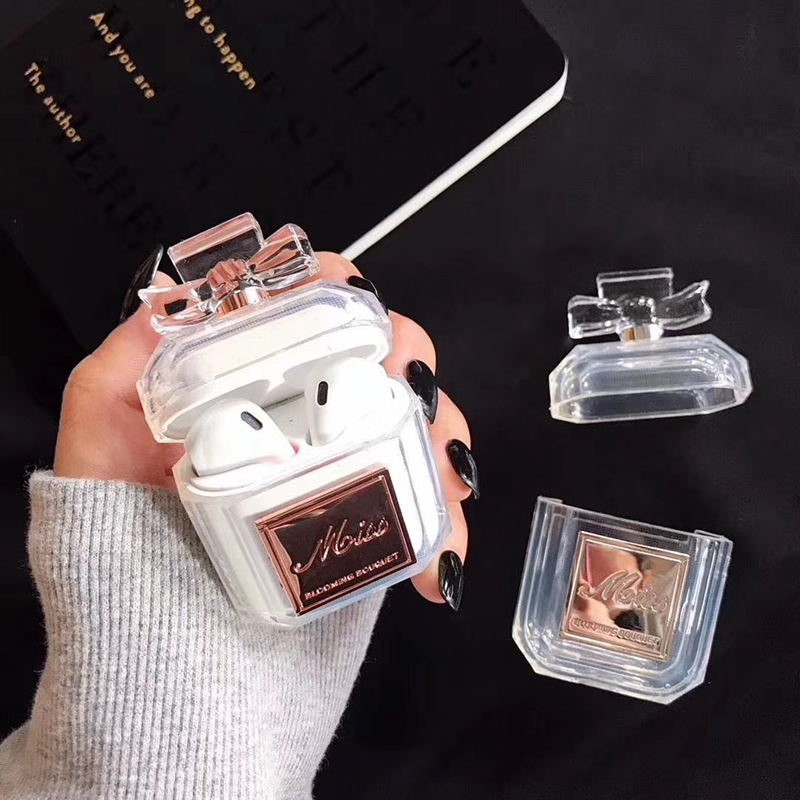 Image 4 - Luxury brand perfume bottle metal transparent silicone case For Airpods Bluetooth Charging Bag Earphone Headset Box Accessories-in Earphone Accessories from Consumer Electronics