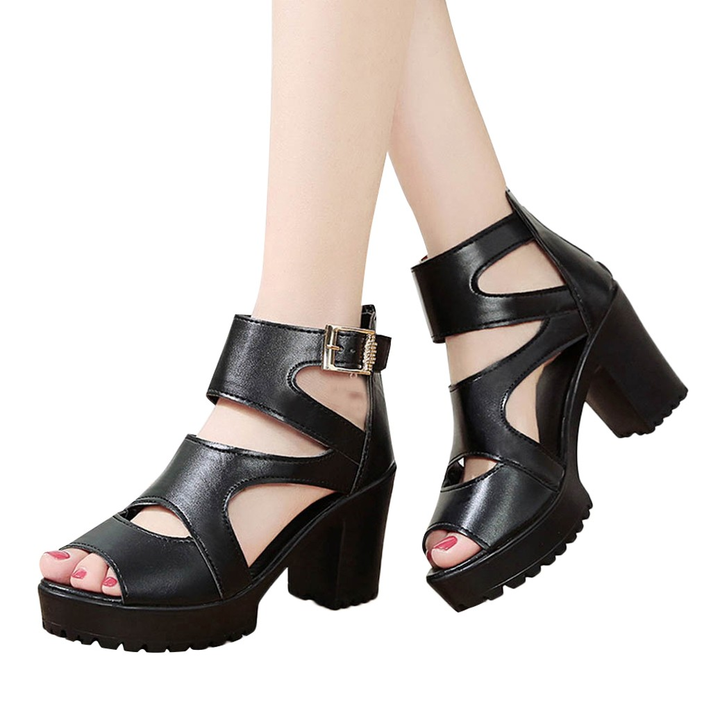 Women Spring Fish Mouth Hollow Roman Sandals Thick With Word High Heels Sandal fashion British Wind Square Heel for travel Apr 8Women Spring Fish Mouth Hollow Roman Sandals Thick With Word High Heels Sandal fashion British Wind Square Heel for travel Apr 8