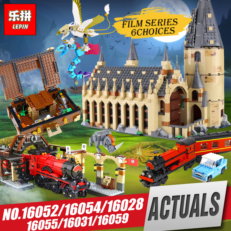 Lepin 16052 16054 Harry Movie Potter The Legoing 75954 Hogwarts Great Wall Set Building Blocks House Model Toys Christmas Gifts new harry potter hogwarts great hall compatibility legoing harry potter 75954 building blocks bricks toys christmas gifts