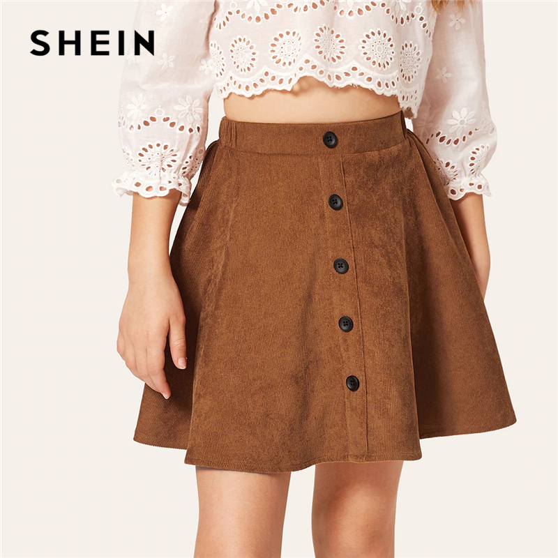 SHEIN Kiddie Brown Solid Button Front Casual Kids Skirt Child Clothes 2019 Summer Elastic Waist A Line Flared Girls Mini Skirts grey skater high waisted mini skirt with elastic band