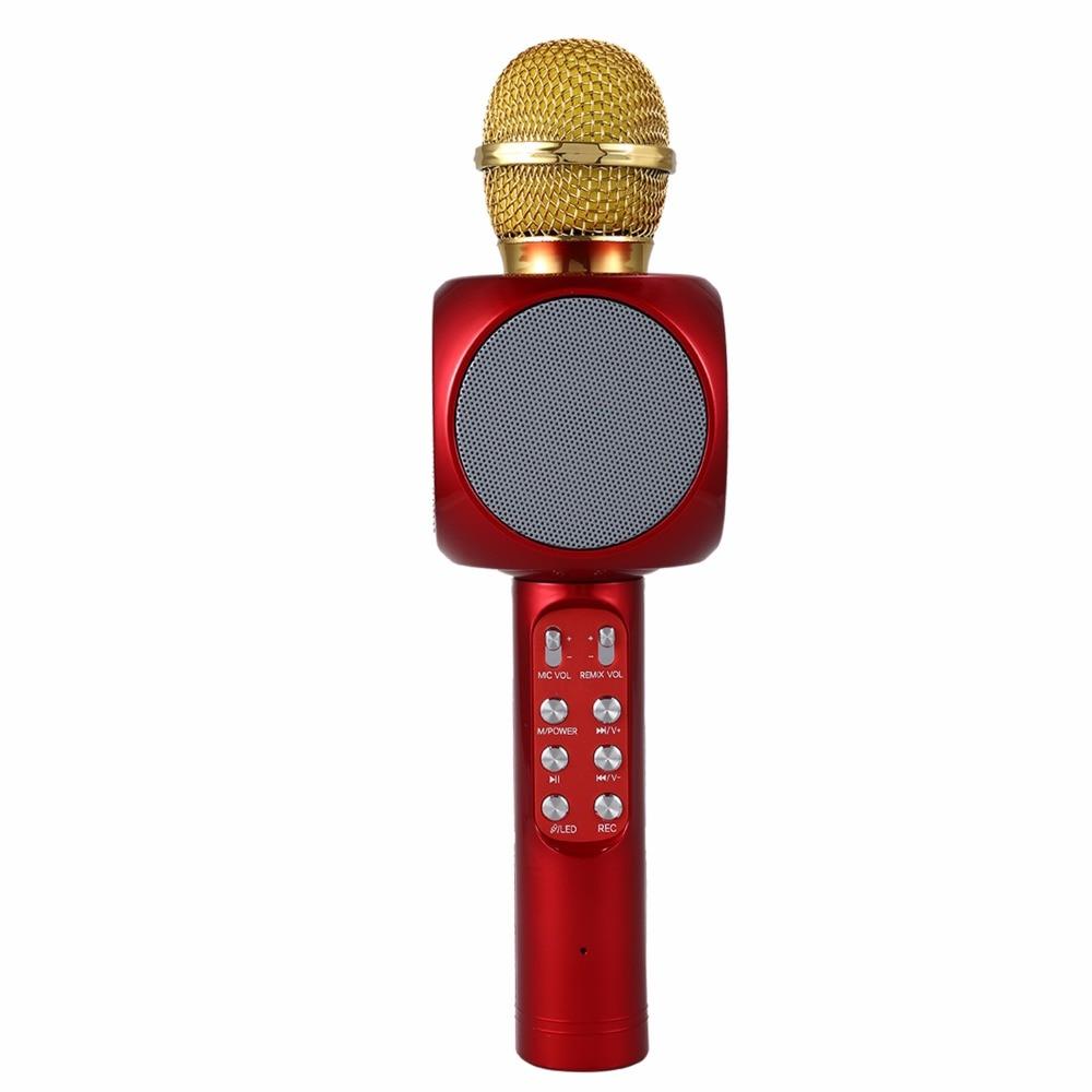 WS1816 Wireless Bluetooth KTV Karaoke Microphone Speaker USB LED Light Woodwind Instruments Accessories