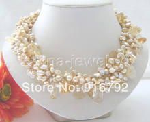 "free shipping ~~18"" 6row 8mm Champagne baroque keshi reborn FW pearl & crystal necklace(China)"