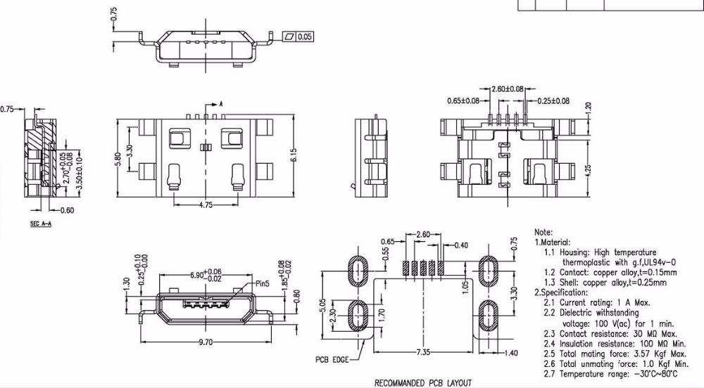 100 шт. микро-USB кабель 5pin разъем типа б для мобильного телефона разъем микро-USB кабель 5pin разъем зарядки