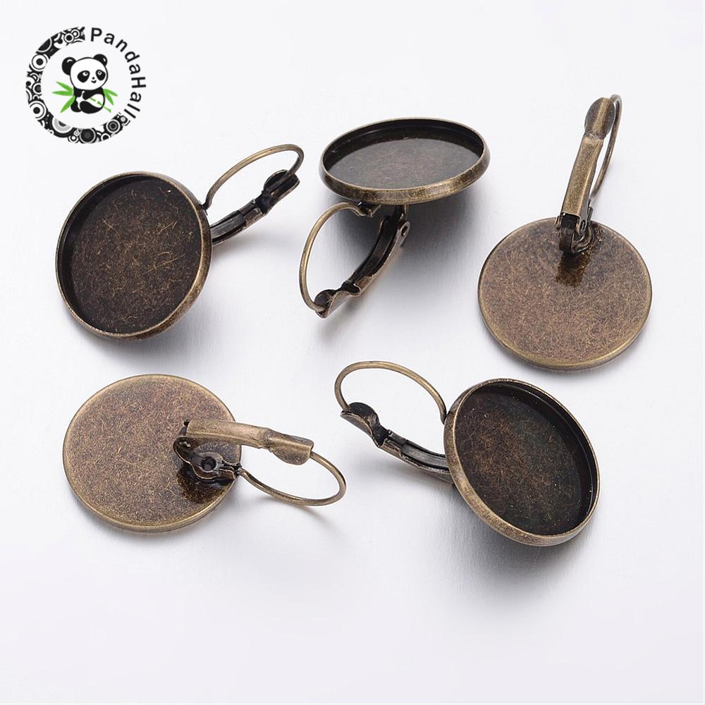 Tray: 18mm Antique Bronze Brass Lever Back Hoop Earring Components Jewelry Findings for DIY,Size 20x32mm,100pcs/lot