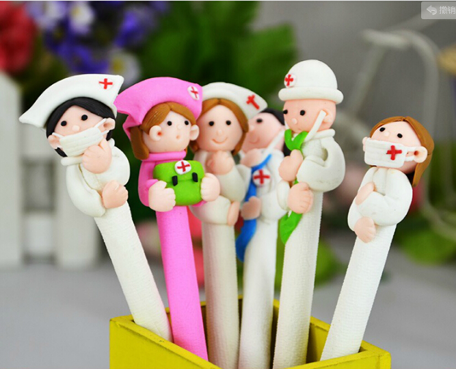 Free ship10pcs/lot high quality  Creative stationery wholesale cute doctor nurse polymer caly ball pen Character  ballpoint  pen