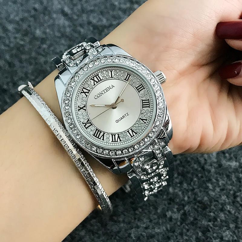 Reloj Mujer CONTENA Fashion Roman Numerals Watch Women Watches Diamond Women's Watches Rose Gold Ladies Watch Clock Saat Montre