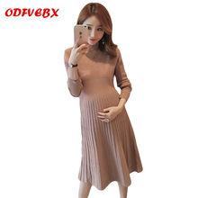 6c0c4a0b9 Otoño e Invierno suéter de maternidad vestidos de moda elástico slim vestido  de punto las mujeres
