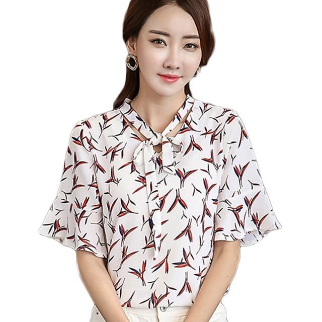 fed8444e4 Plus Size Mulheres Trabalho de Escritório Senhora Camisas de Verão de Manga  Curta impressão Chiffon Blusa