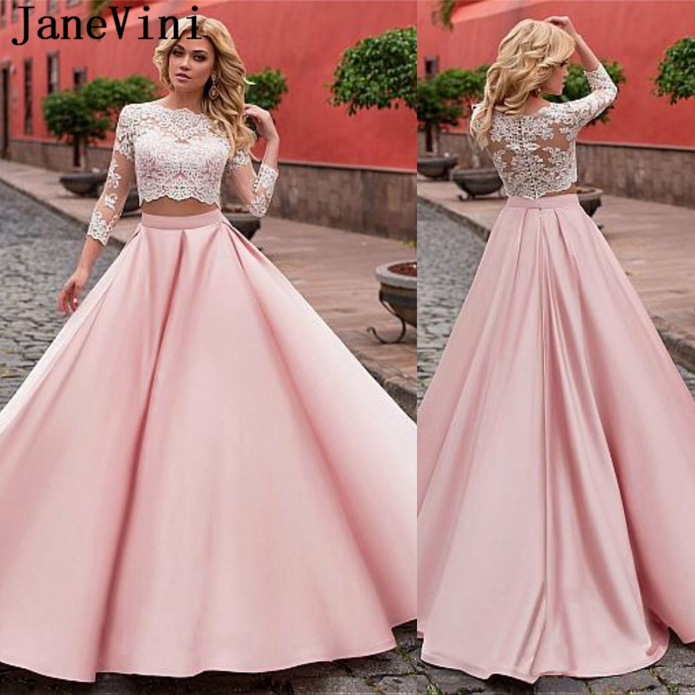 US $129.0 45% OFF|JaneVini Elegant Pink Prom Dress Two Piece A Line Lace  Long Sleeve Illusion Back A Line Sweep Train Satin Plus Size Prom  Dresses-in ...