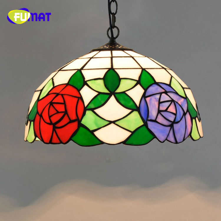 FUMAT American Pastoral Creative Tiffany Stained Glass Art For living room restaurant Rose Chandelier Morning Glory