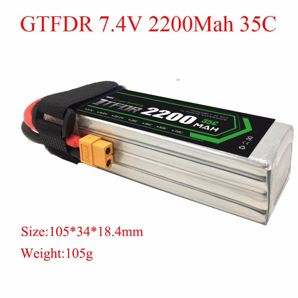 GTFDR <font><b>Lipo</b></font> RC <font><b>Battery</b></font> <font><b>2S</b></font> 7.4V <font><b>2200MAH</b></font> 35C 70C for Remote Control FPV Quadcopter Boat Car Helicopter image