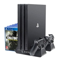 4 in 1 Vertical Stand for PS4 /Pro /Slim + Dual Charger Station + Cooling Fan Cooler + Games Disc Storage DVD Holder for PS4