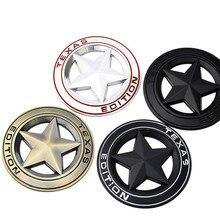 Metal TEXAS EDITION Shield Pentagram Emblem Badge Auto Fender Side Body Car Stickers For JEEP Wrangler Liberty Grand Cherokee