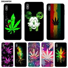 N252 Art Smoke Weed Black Silicone Case Cover For Apple