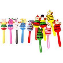 Милые животные, звучащие погремушки для ребенка, для сна и веселья, красочные деревянные Мультяшные погремушки, для детской вечеринки, для ребенка, пляжный шейкер, игрушка