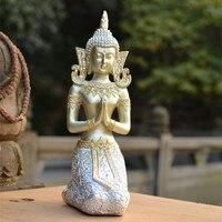 Thai Rath Kneel Buddha Statue Southeast Asia Buddhism Resin Art&Craft Home Decoration Accessories Ornaments R979