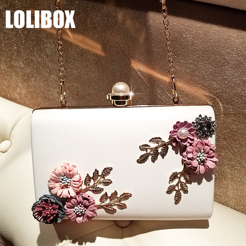 LOLIBOX Clutches Women Flower Rhinestone Pearl Lady Evening Clutch Bags Small Purses Chain Cross-dress Bag Clutch Party Bag lolibox women evening clutch bag diamond streaks rhinestone box women day clutches women messenger bags evening party dress bag