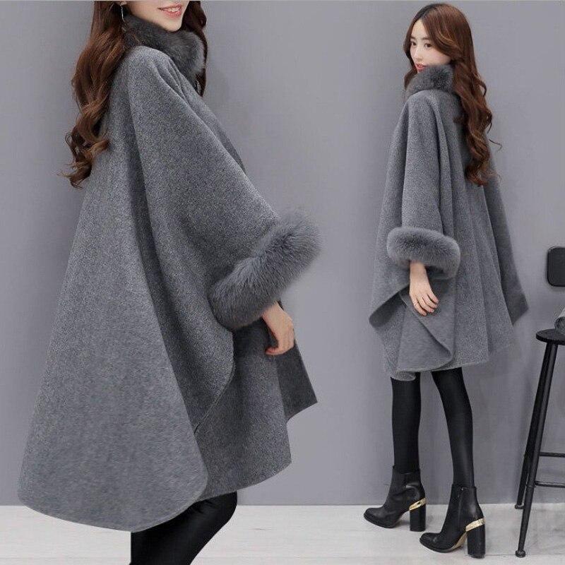2018 Herbst Winter Neue Pelz Kragen Doppelseitige Woolen Mantel Temperament Mantel Schal Woolen Mantel Weibliche Mode Atmosphäre Mantel