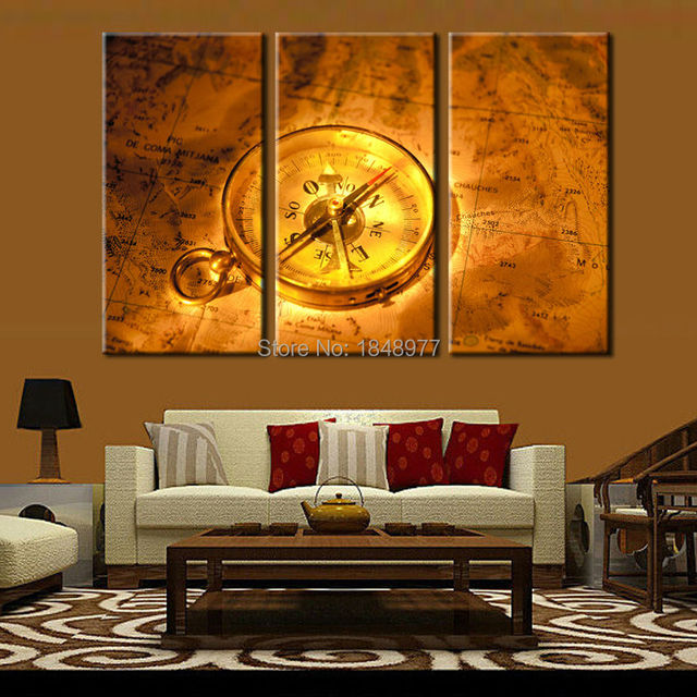 3 piece home decor canvas frameless vintage map with compass modern wall canvas painting art hd