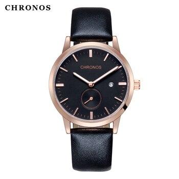 цена на CHRONOS Men watches Male Waterproof Business Fashion Casual Quartz Wrist Watch Leather Strap Clock Dual Dial Horloges Mannen