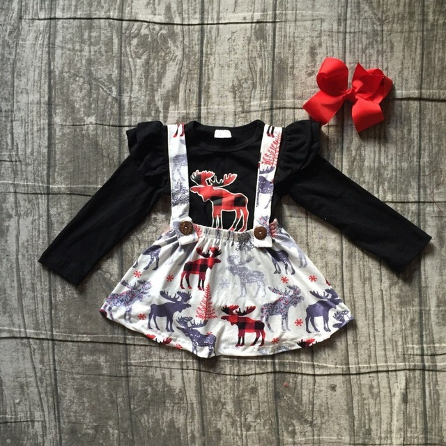ac38f3ba04ef5 3 pieces sets baby girls winter OUTFITS girls MOOSE print black dress top  wtih skirts sets girls Christmas clothing with bows