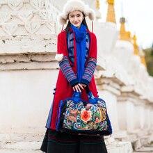 Тибетское новое зимнее платье красное хлопковое пальто средней длины Оригинальная одежда с вышивкой в национальном стиле с хлопковой подкладкой Тибет