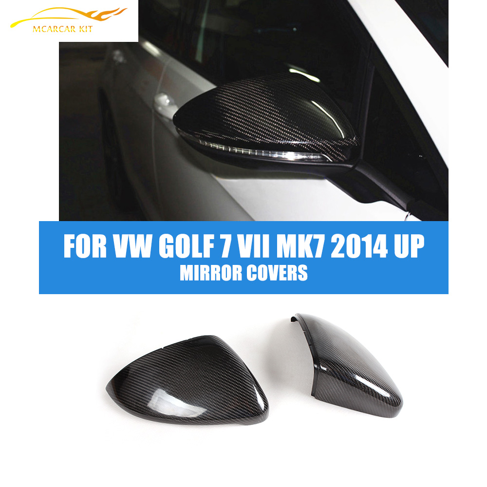 2PCS/Set Carbon Fiber  Rearview Mirror Covers Fit For VW Golf 7 VII MK7 2014-2016 Side Wing Mirror Caps Car Styling carbon fiber side wing mirror cover caps for volkswagen vw golf mk5 2005 2007
