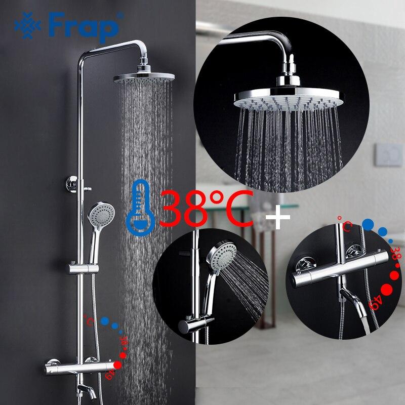 Frap robinets de douche thermostatique salle de bain bain douche mélangeur ensemble cascade pluie pomme de douche ensemble robinet robinet baignoire
