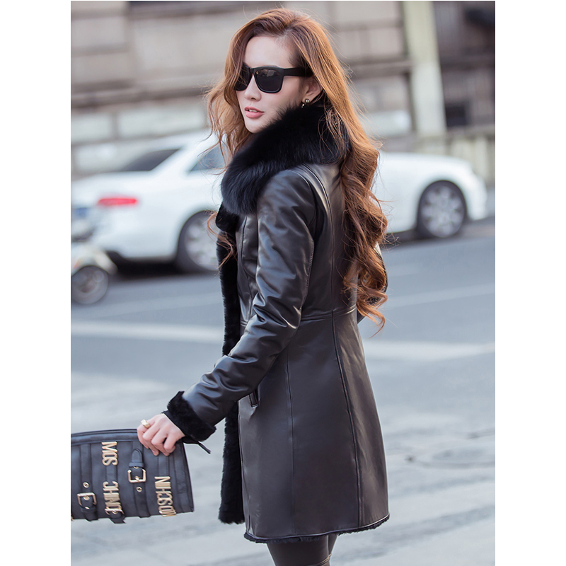 2018 Cuero Capa Corea La Abajo Invierno Lana Del Forro Black Genuino Chaqueta Delgado Zalea Cuello Ropa De Mujer Zorro Mujeres Piel Zt691 4xXw5c7q