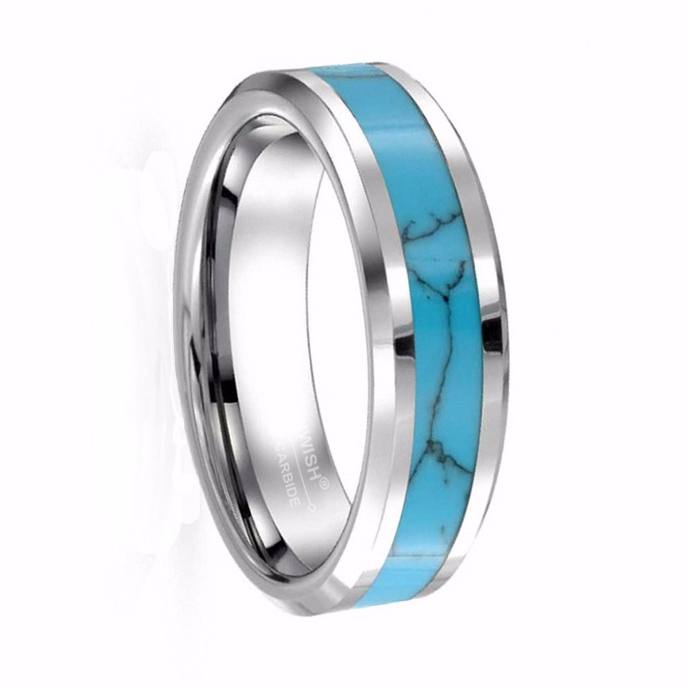Infinity 6mm 8mm Simple Womens Turquoise Tungsten Carbide Rings Men