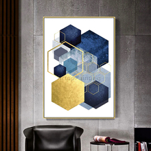 Geometric Gold Blue Acrylic Morden Abstract Painting on Canvas Hand Painted Wall Art Pictures for Living Room Home Decoracion