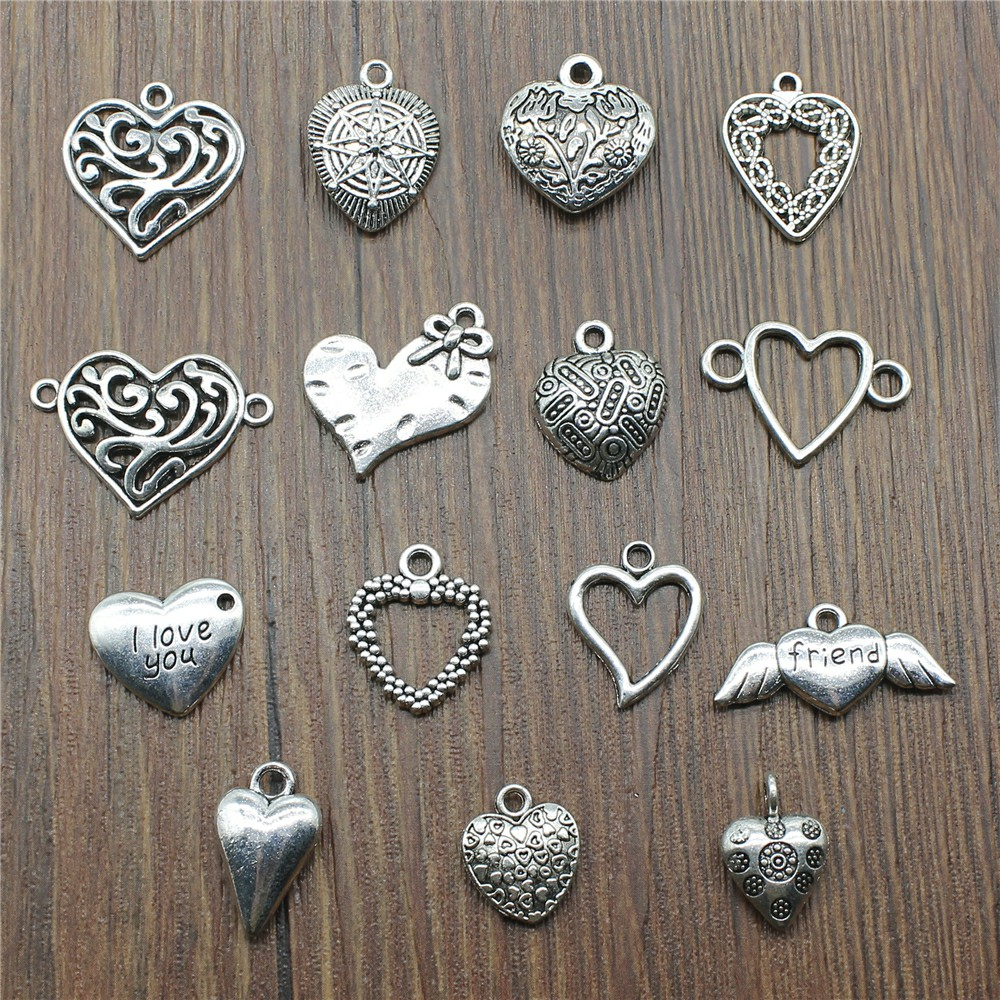 10Pcs Antique Silver Heart Carved LOVE Charms Pendants Jewelry Necklace Making